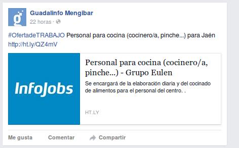Ofertas de trabajo en nuestro Facebook