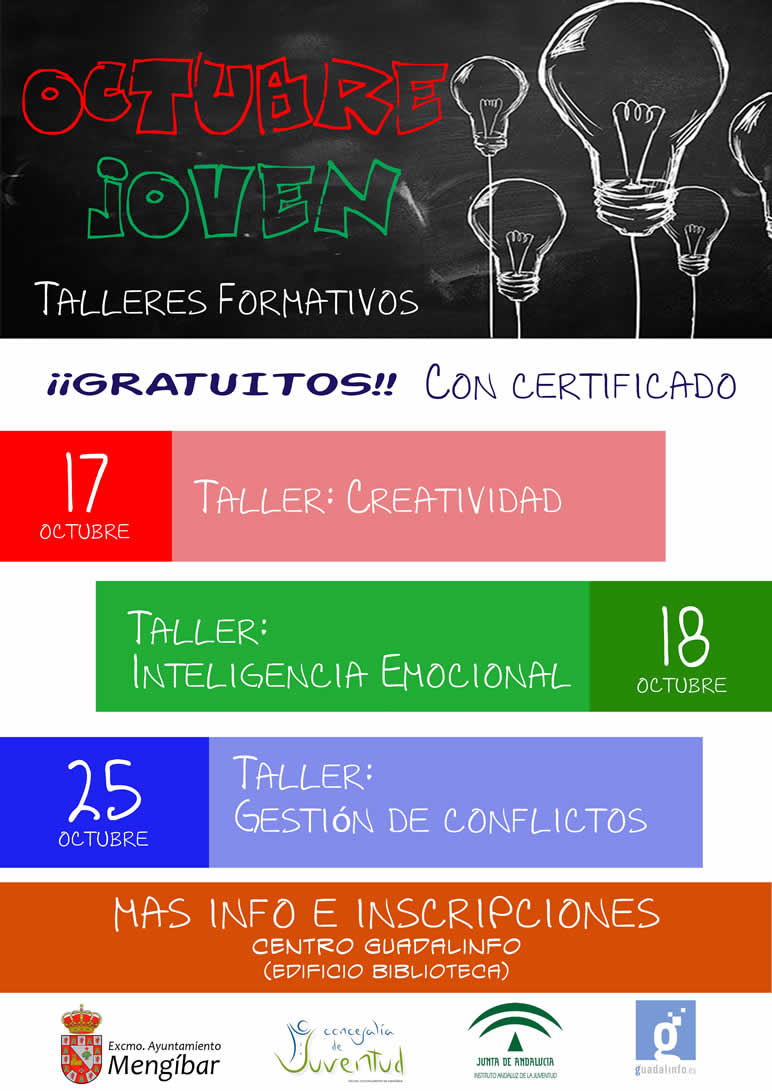 Cartel informativo de los talleres: Octubre Joven en Mengíbar